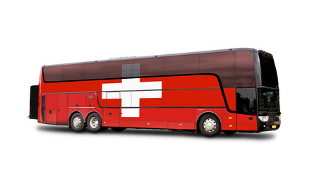 Black Travel  bus with the Swiss flag on side