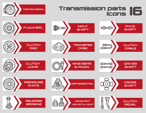 Set of 16 transmissin parts icons
