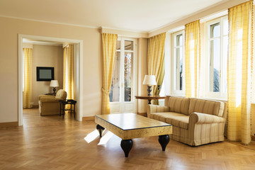 Yellow living room furnished chich