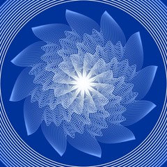Blue circle mandala in optical art style for spiritual training and meditation