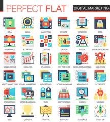 Digital marketing vector complex flat icon concept symbols for web infographic design.