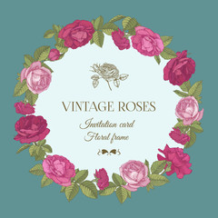Vector greeting card with a round floral frame of red and pink roses in vintage style