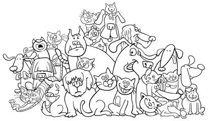 cartoon dog and cats coloring book