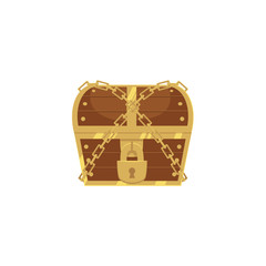 vector closed locked chained wooden treasure chest. Isolated illustration on a white background. Flat cartoon symbol of adventure, pirates, risk profit and wealth.