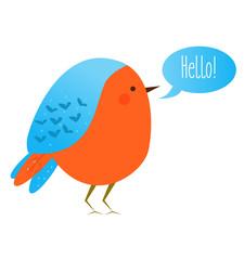Cute kawaii bird with speech bubble saying Hello. Vector icon