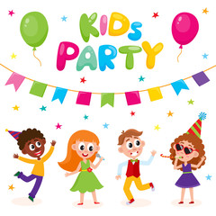vector flat cartoon kids at party with confetti, flags, air balloons set. Boys girls singing at microphone, dancing and whistling in party hat. Isolated illustration on a white background.