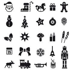 Set mit Weihnachts-Pktogrammen. Dekorative weihnachtliche icons. Vektor Illustration