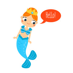 Mermaid saying Hello. Cute cartoon smiling mermaid chacrater