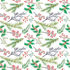 Watercolor decorative christmas botanical seamless pattern