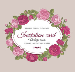 Vector floral frame with red and pink roses in vintage style. Invitation card with hand drawn flowers