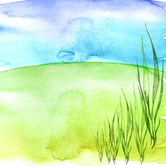 Watercolor background. Bright green, yellow field, earth, blot and blue sky, background. Seabed, seaweed. Wild green grass. place for your grass. Handmade drawing.