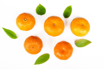 fresh orange with green leag isolate on white background