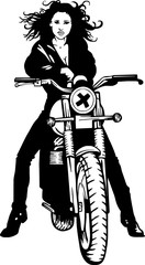 Fototapete - lady biker