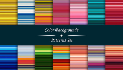 Horizontal colorful stripes abstract background, stretched pixels effect, seamless patterns, set