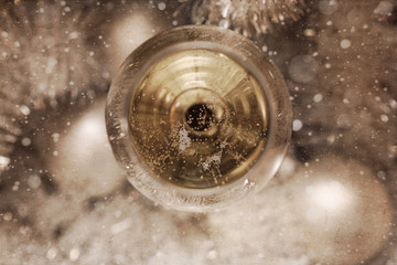 Artwork in painting style, glass of champagne, Christmas decoration