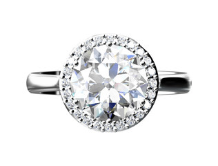 diamond engagement ring ,wedding ring on white isolate (high resolution 3D image)