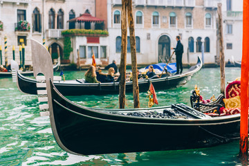 Foto op Aluminium Venetie Gondola on the Grand canal of Venice