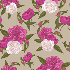 Vector floral seamless pattern with bouquets of hand drawn pink and white peonies in vintage style