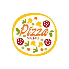 Simple flat vector colorful pizza with vegetables and sausage for pizzeria business logo design. Fast food baked goods label.