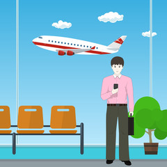 Waiting Room at the Airport, European Businessman with a Briefcase on the Background of a Window with a Flying Airplane, Business Tourism , Vector Illustration