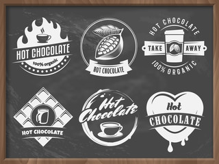 Vector hot chocolate logos. Cacao drink badges. Set of vintage stickers for cafe, bar or restaurant on the retro chalkboard background