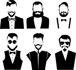 black and white vector of men face, men with beard, bearded man, beard, face men