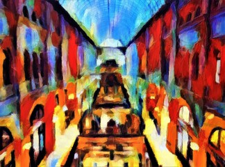 A view of the vintage shops in the huge antique shopping gallery. Large size modern wall art oil painting on canvas. Colorful abstract impressionism artwork.