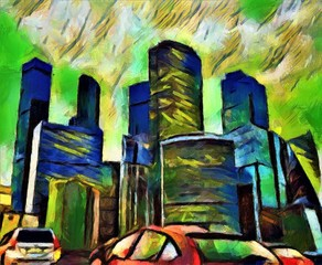 Colorful skyscrapers with glowing windows in the evening. Large size modern wall art oil painting on canvas. Color mixed abstract impressionism artwork.
