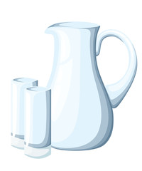 Empty glass pitcher and glasses. Transparent kitchen utensils. Decorative household items. Vector illustration isolated on white background.