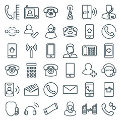 Set of 36 contact outline icons