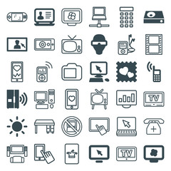 Set of 36 screen filled and outline icons
