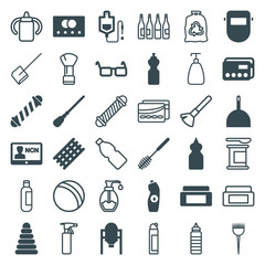 Set of 36 plastic filled and outline icons