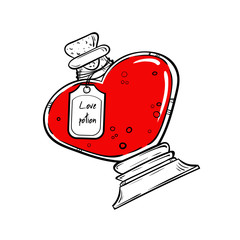 Bottle with magic elixir. love potion hand drawn