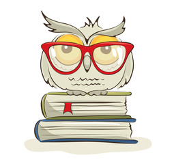 Clever owl / Vector illustration of a bird in glasses sitting on books