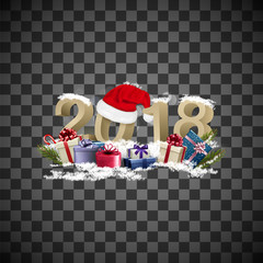 Happy new year background with a 2018 and a gift boxes. Vector.