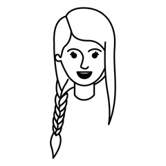 female face with braid and fringe hairstyle in monochrome silhouette vector illustration