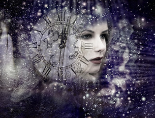 Woman ,Universe and old clock
