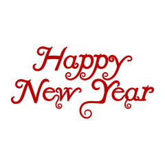 Happy New Year. hand-lettering red text on  background. Handmade vector calligraphy collection