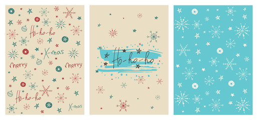 Set of creative Christmas cards with hand drawn lettering Ho-ho-ho. Vector template for invitations, greeting scrapbooking and congratulations. Winter posters set.