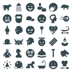 Set of 36 head filled icons