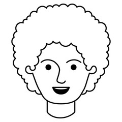 male face with curly hair in monochrome silhouette vector illustration