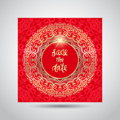 Modern template for design greeting cards, invitations, posters with beautiful gold Indian ornament mandala.