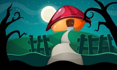 cartoon landscape with mushroom house. Vector eps10