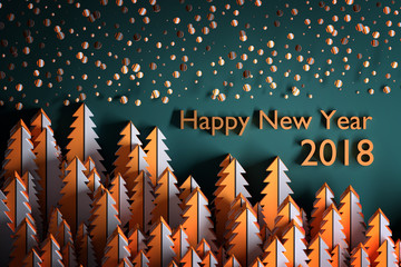 """Greeting card with patterned christmas trees and falling snow. Greeting with words """"Happy new year 2018"""". Background in orange and dark blue colors. 3d illustration."""