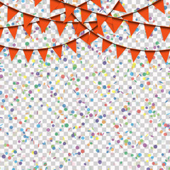 garlands and confetti background with vector transparency