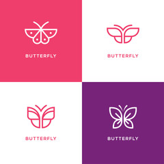 Four mono line butterfly logo.