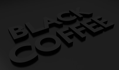 Black coffee 3D text