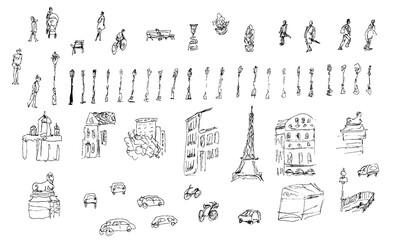 Big set of sketched street elements