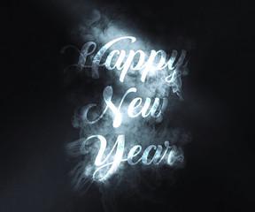Happy new year background wth smoke writing
