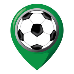 Icon representing location with soccer ball, place of games, teams and equipment. Ideal for catalogs of institutional materials and sporting events